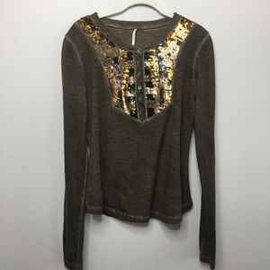 Free People Long-sleeve Shirt with Sequins